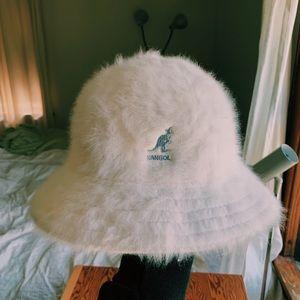 Vintage Kangol White Angora Logo Bucket Hat